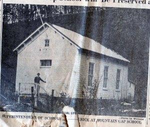 Mountain Gap White School in 1953